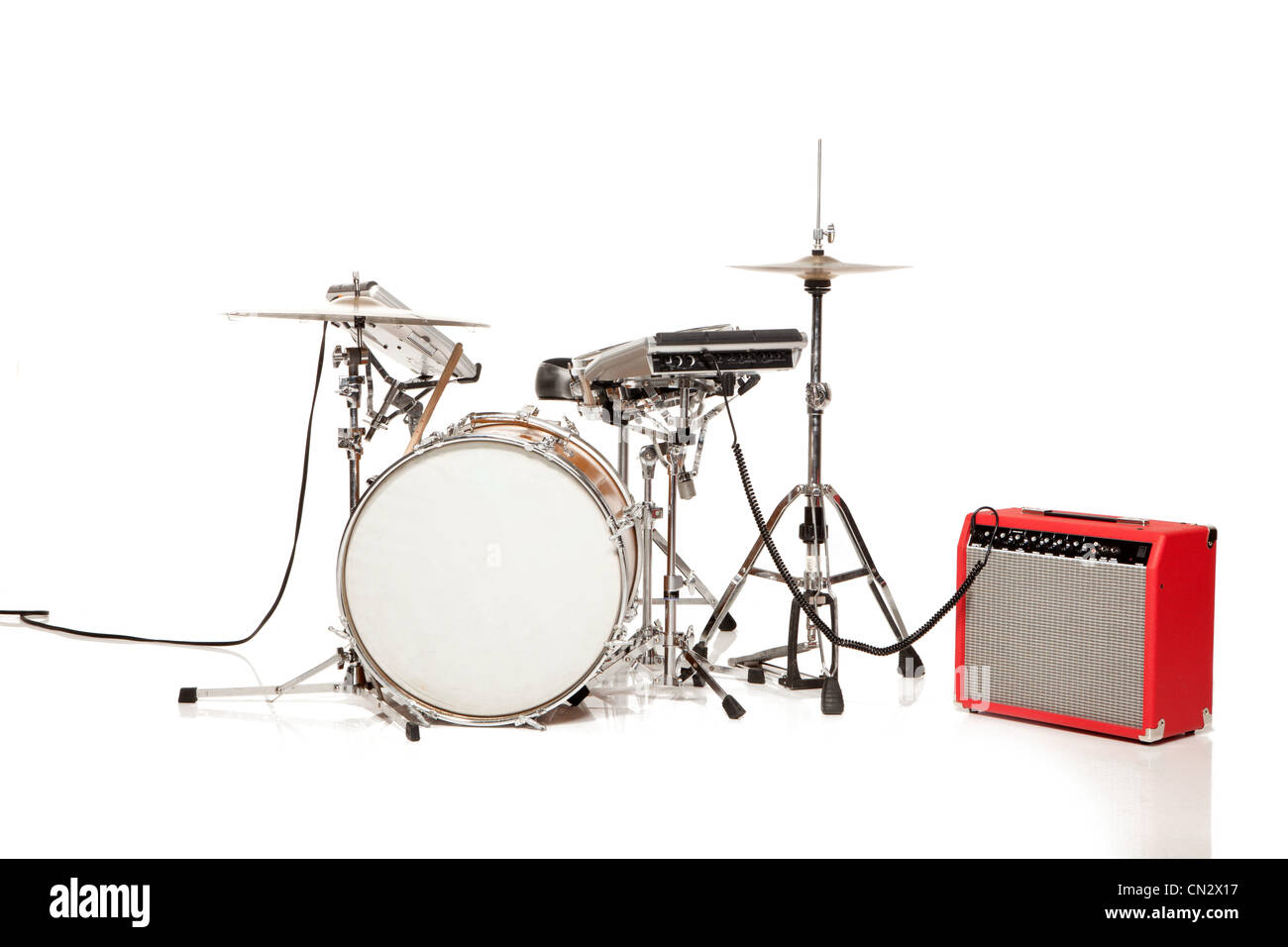 Drum kit, studio shot - Stock Image