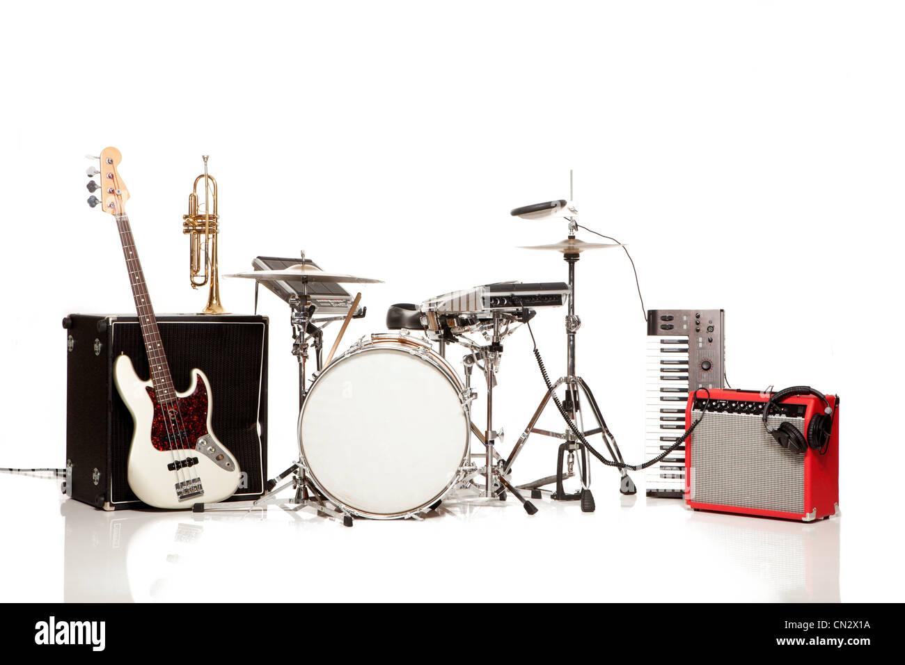 Drum kit, studio shot - Stock Image