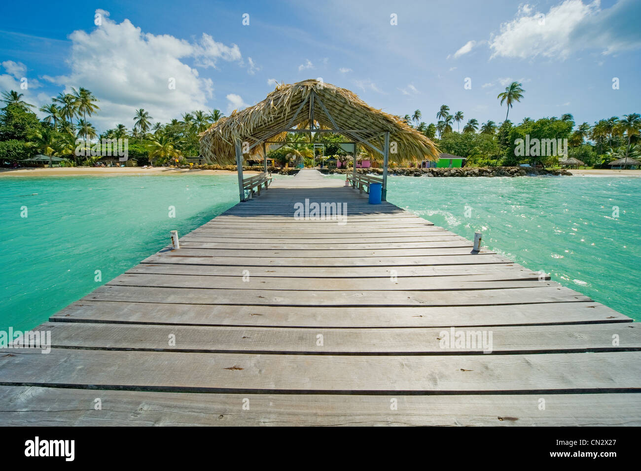 Jetty out to sea, Pigeon Point, Tobago - Stock Image