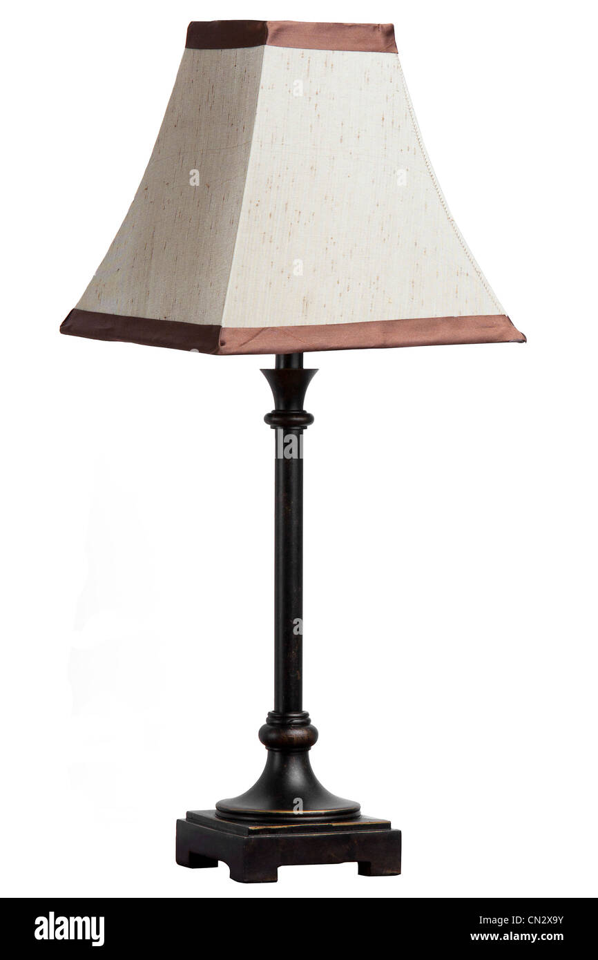 A table lamp with shade isolated on white background - Stock Image