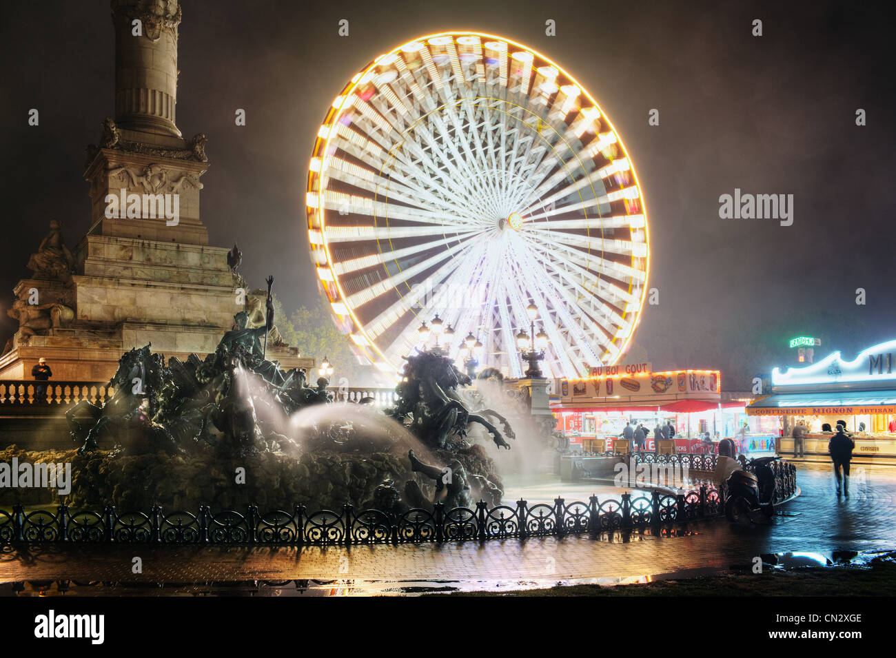 Ferris wheel at night, Bordeaux, France Stock Photo