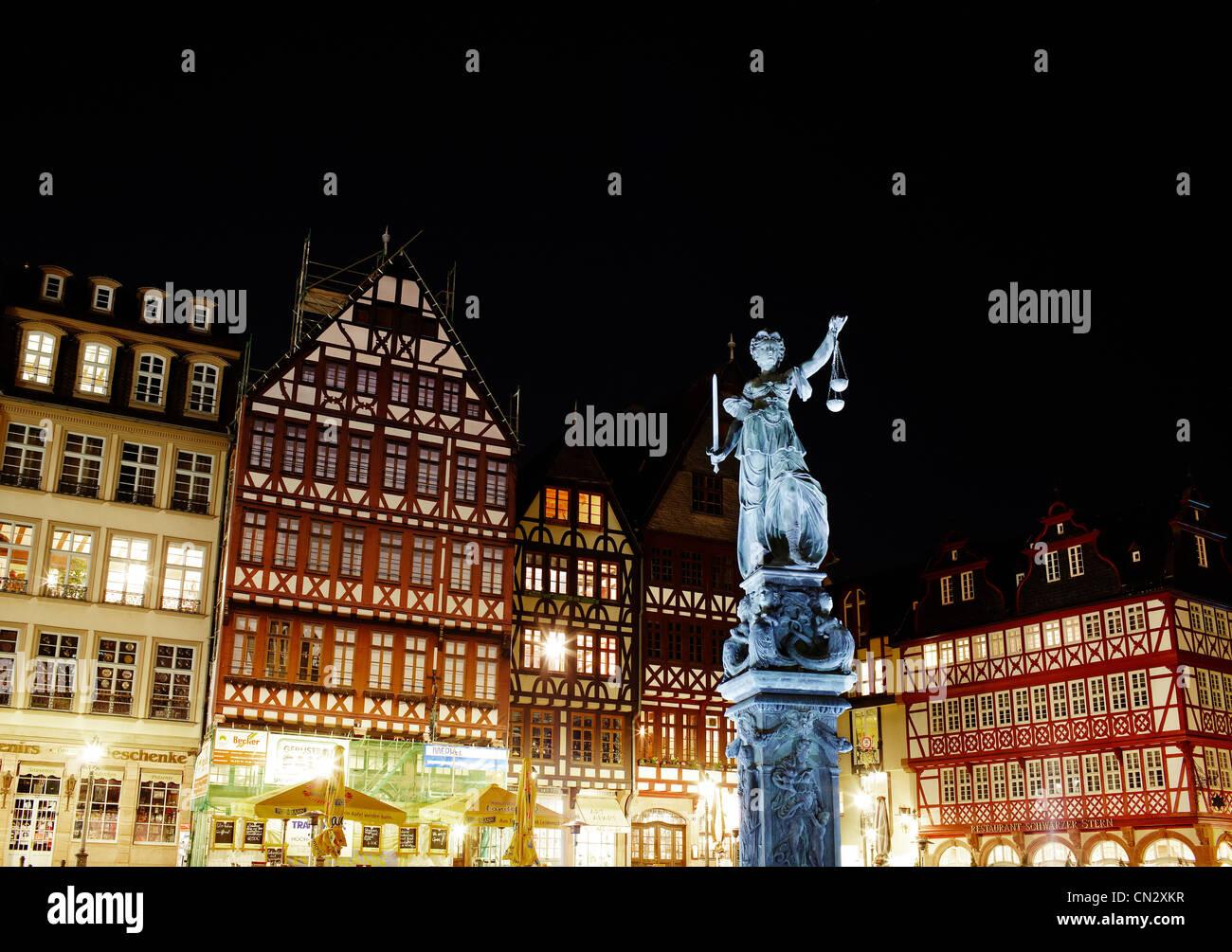 The Romer at night, Frankfurt, Germany Stock Photo