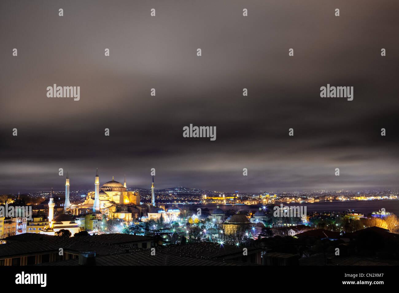 Hagia Sofia mosque at night, Istanbul, Turkey Stock Photo