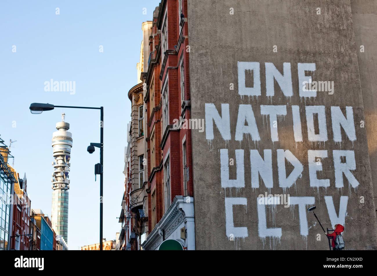 Graffiti on wall, London, England - Stock Image