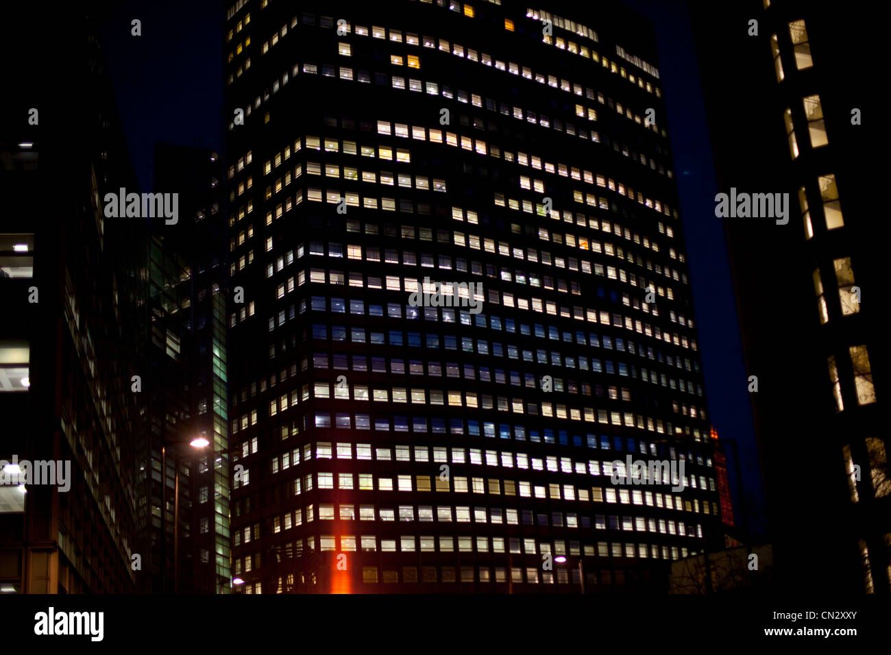 Skyscraper at night, London, England - Stock Image