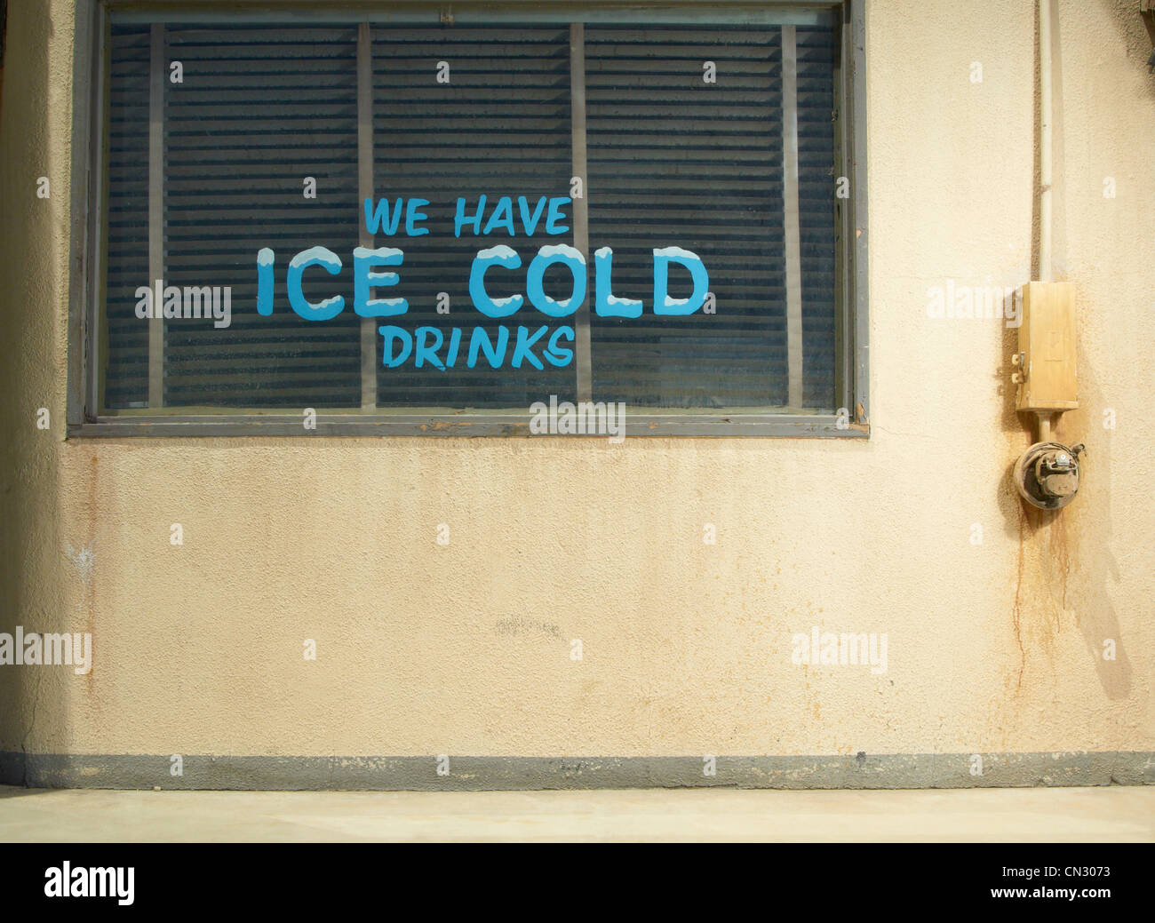 Ice cold drinks sign at a diner, California, USA - Stock Image