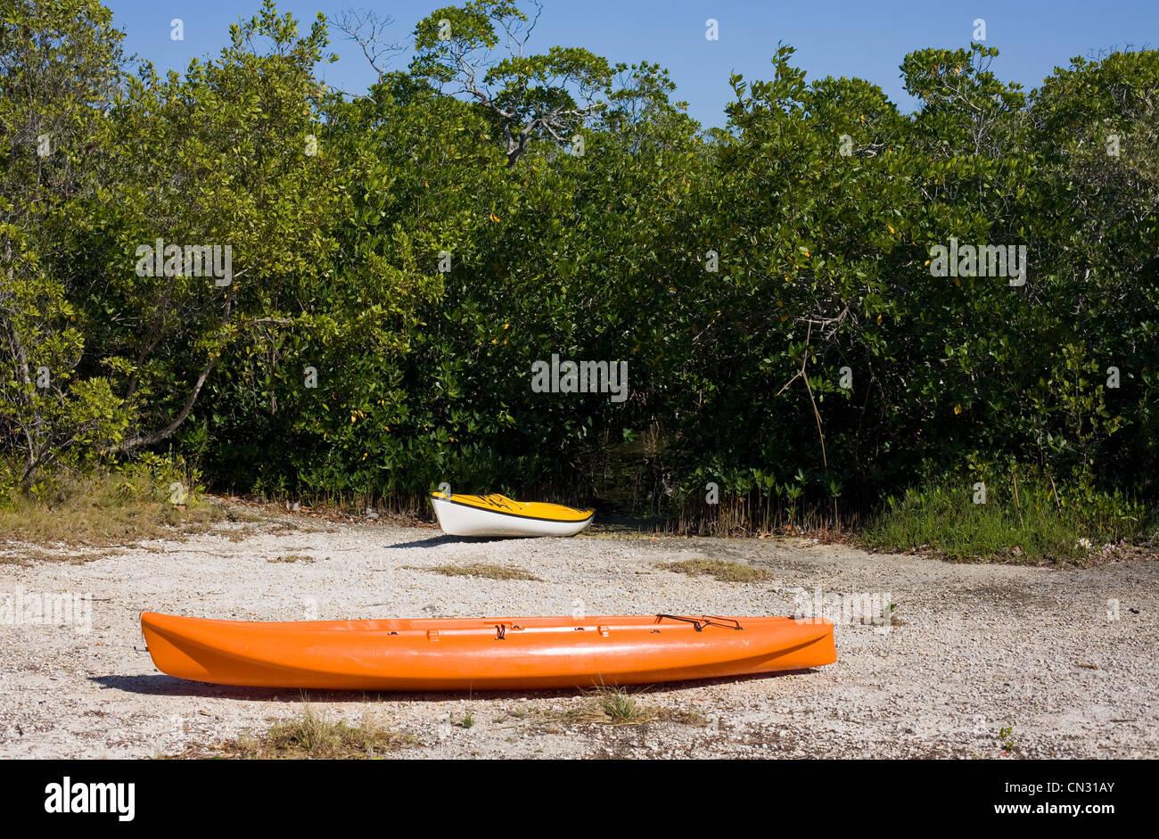 Two kayaks on beach - Stock Image
