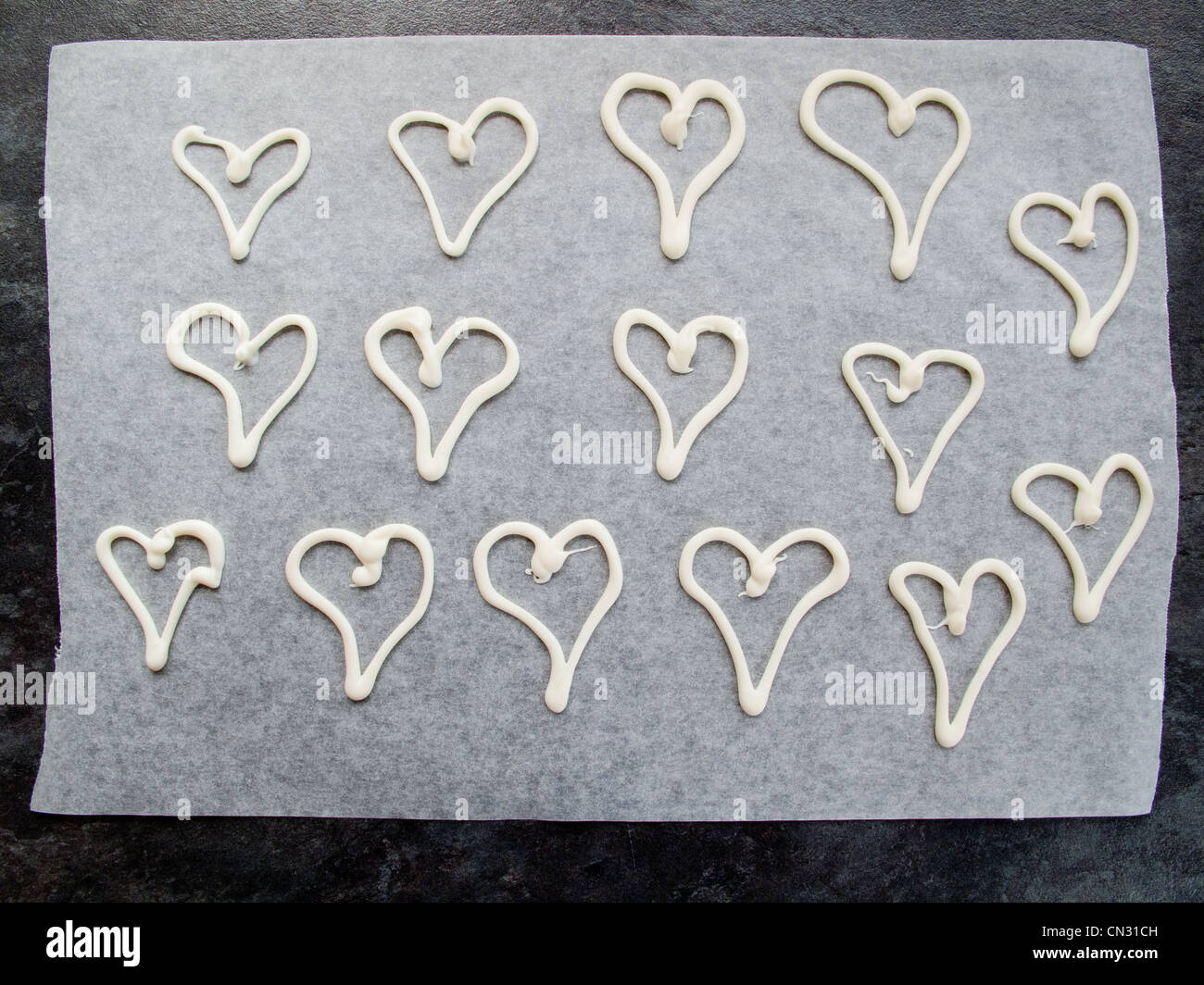 Love hearts on paper - Stock Image