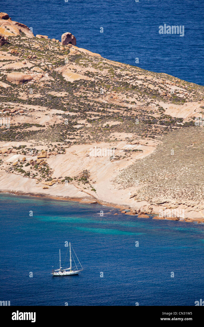 Yacht anchored at Pearson Island. Eyre Peninsula South Australia - Stock Image