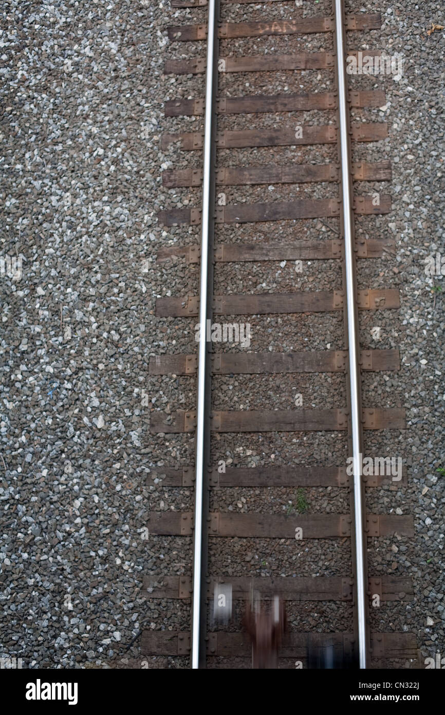 Train tracks from above Stock Photo