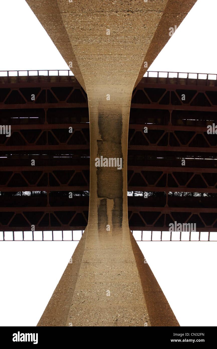 Railway bridge from below - Stock Image