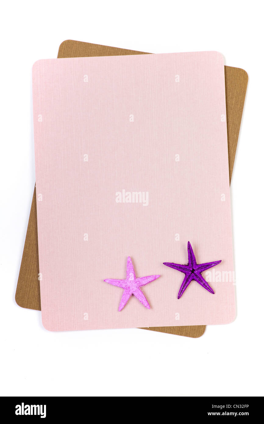 Sheet of paper with starfish in corner - Stock Image