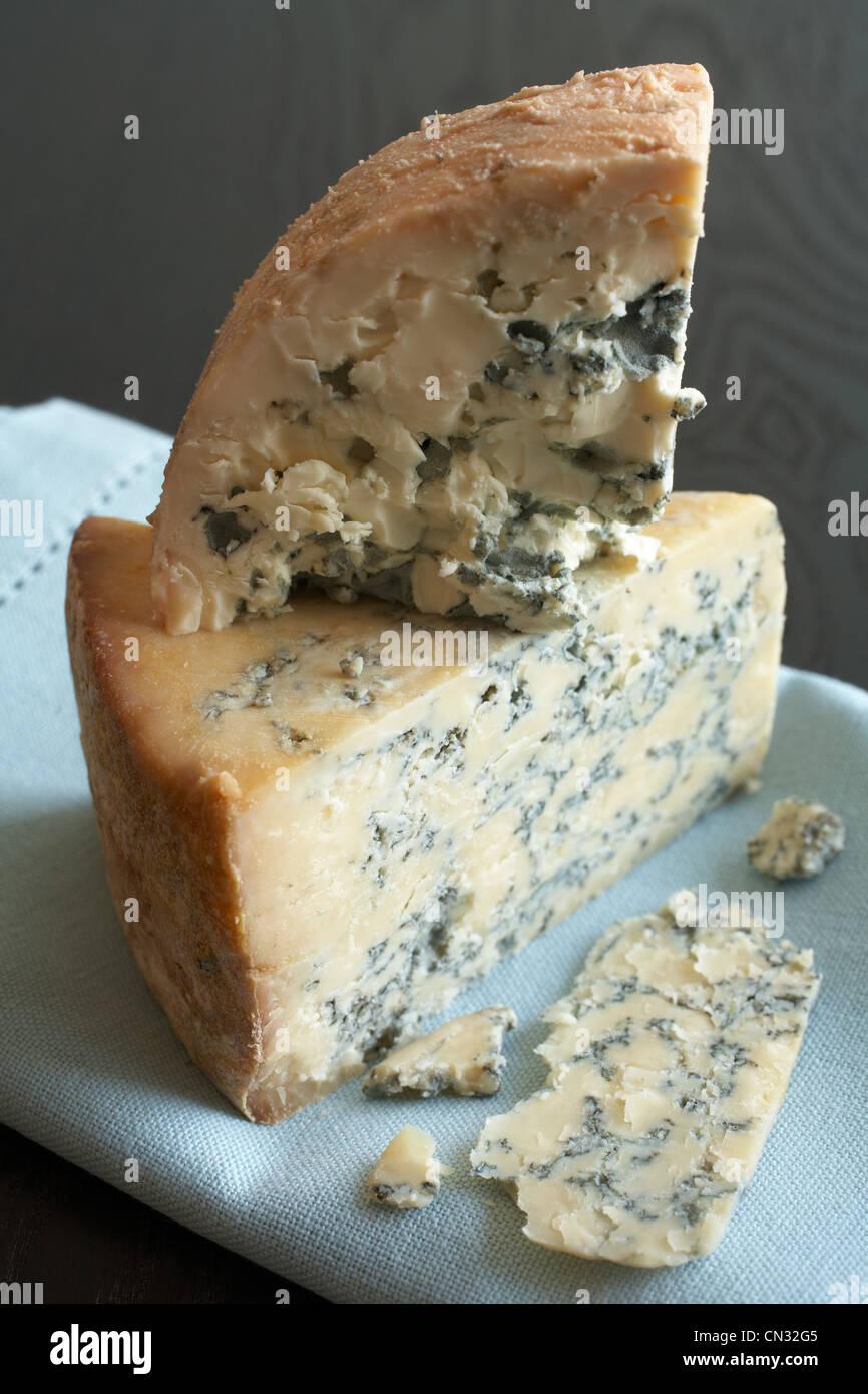 Blue cheese on blue napkin - Stock Image
