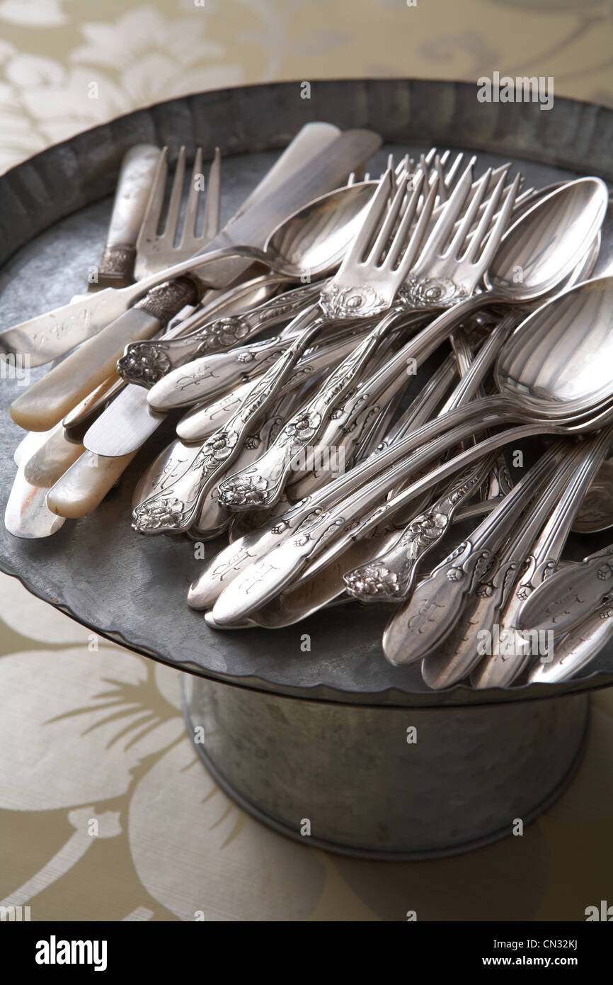 Vintage cutlery on metal tray - Stock Image