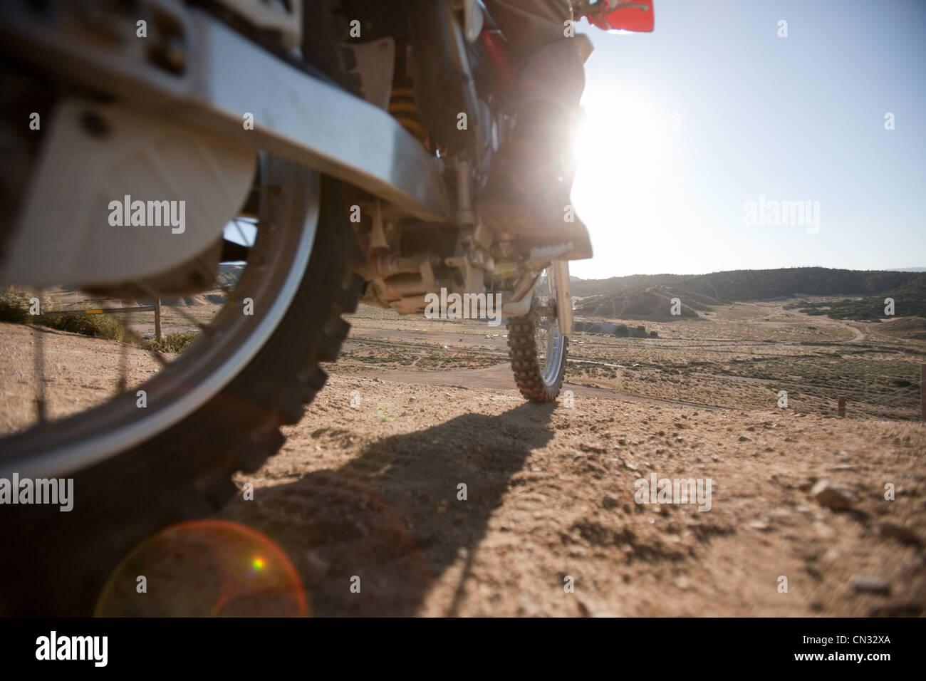 Low angle of dirt bike - Stock Image