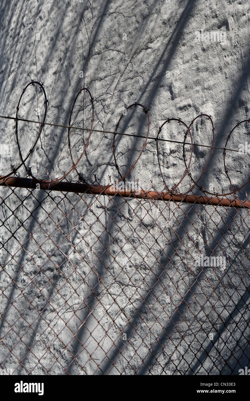 Barbed wire and wall with shadows - Stock Image