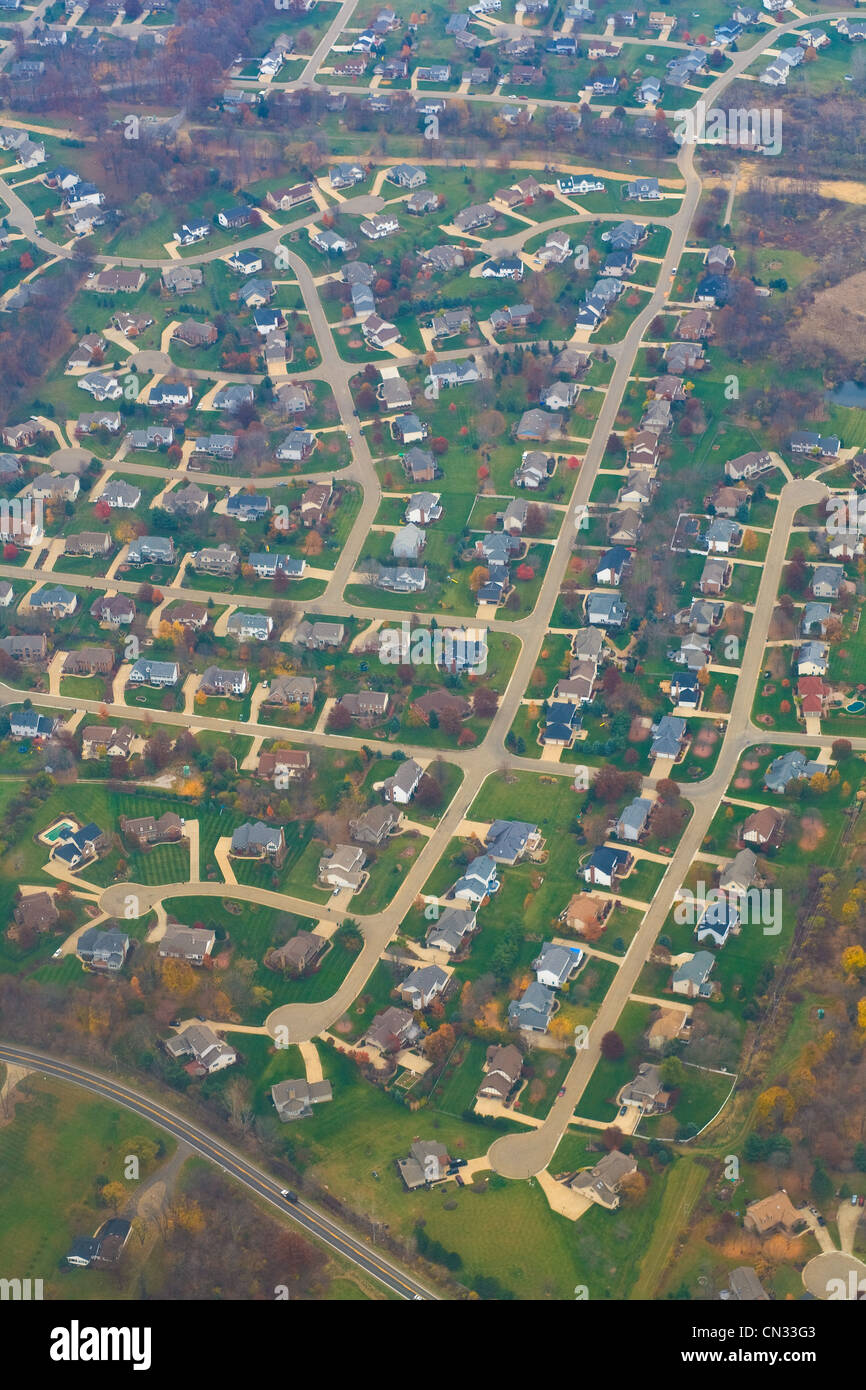 Aerial view of suburban Ohio, USA - Stock Image