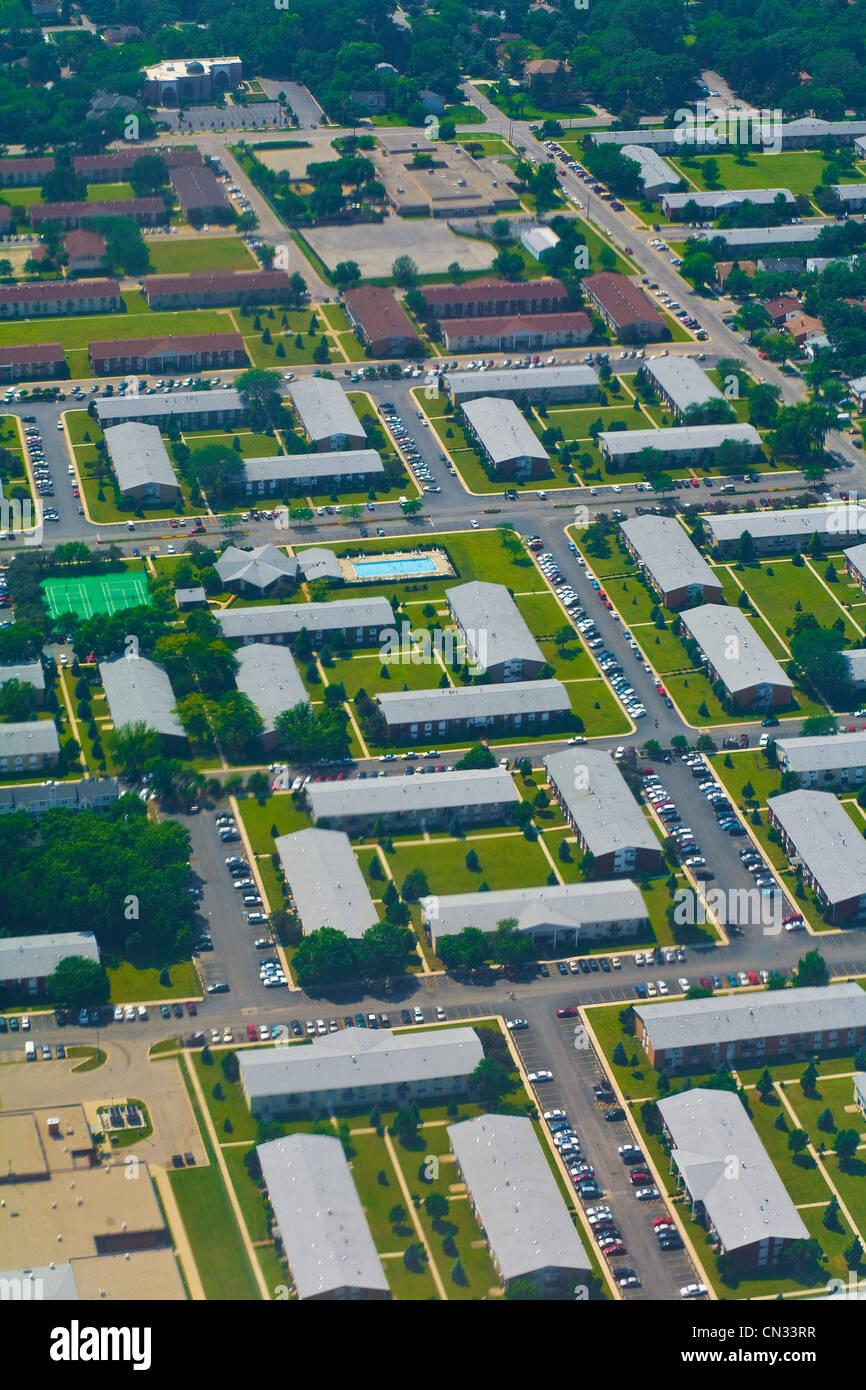 Aerial shot of suburban houses, Chicago, Illinois, USA - Stock Image
