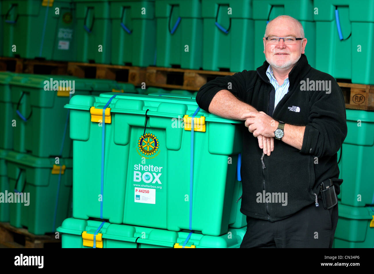 ShelterBox, Founder of ShelterBox Tom Henderson OBE - Stock Image