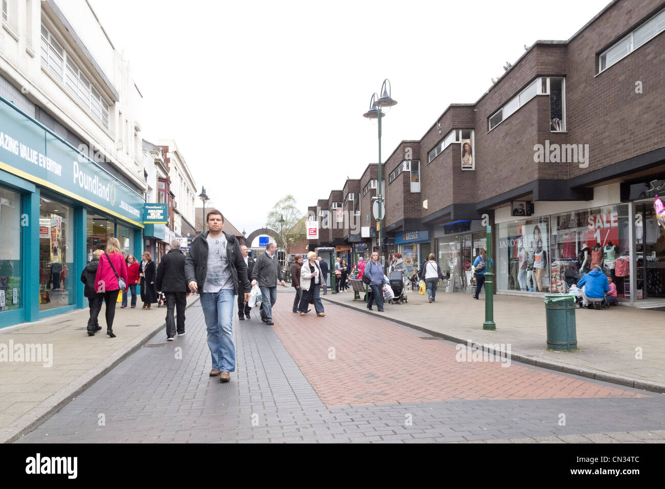 Crewe on a Saturday in March 2012  pedestrian shopping area - Stock Image
