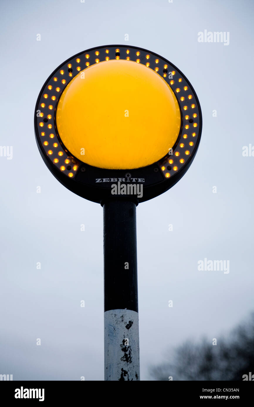 New Modern Belisha Beacon With Led Light Array Of Orange