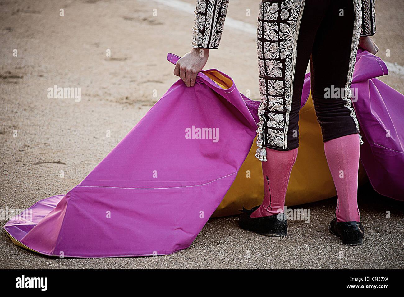 Bullfighter holding pink cape, Las Ventas bullring, Madrid - Stock Image
