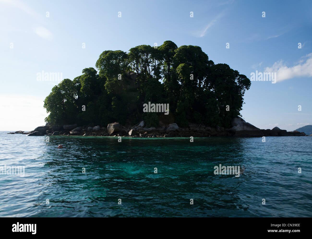 Small island in South China Sea near Tioman Island, Malaysia - Stock Image