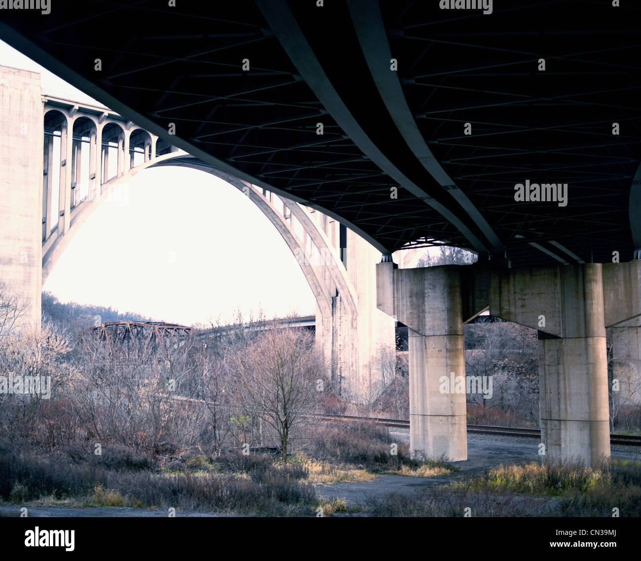 View from an underpass, Pennsylvania - Stock Image
