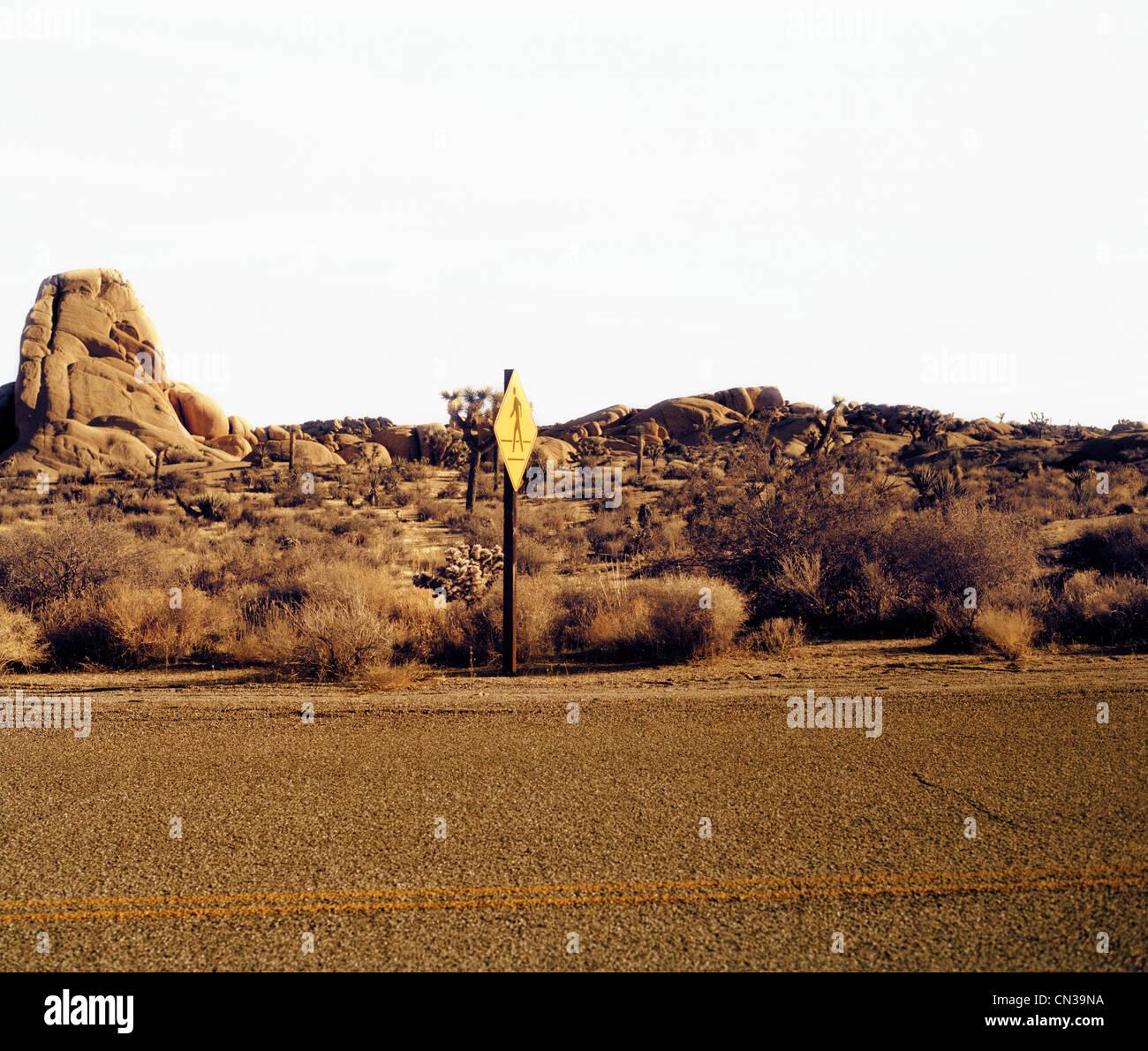 Road and road sign, Joshua Tree, California, USA - Stock Image