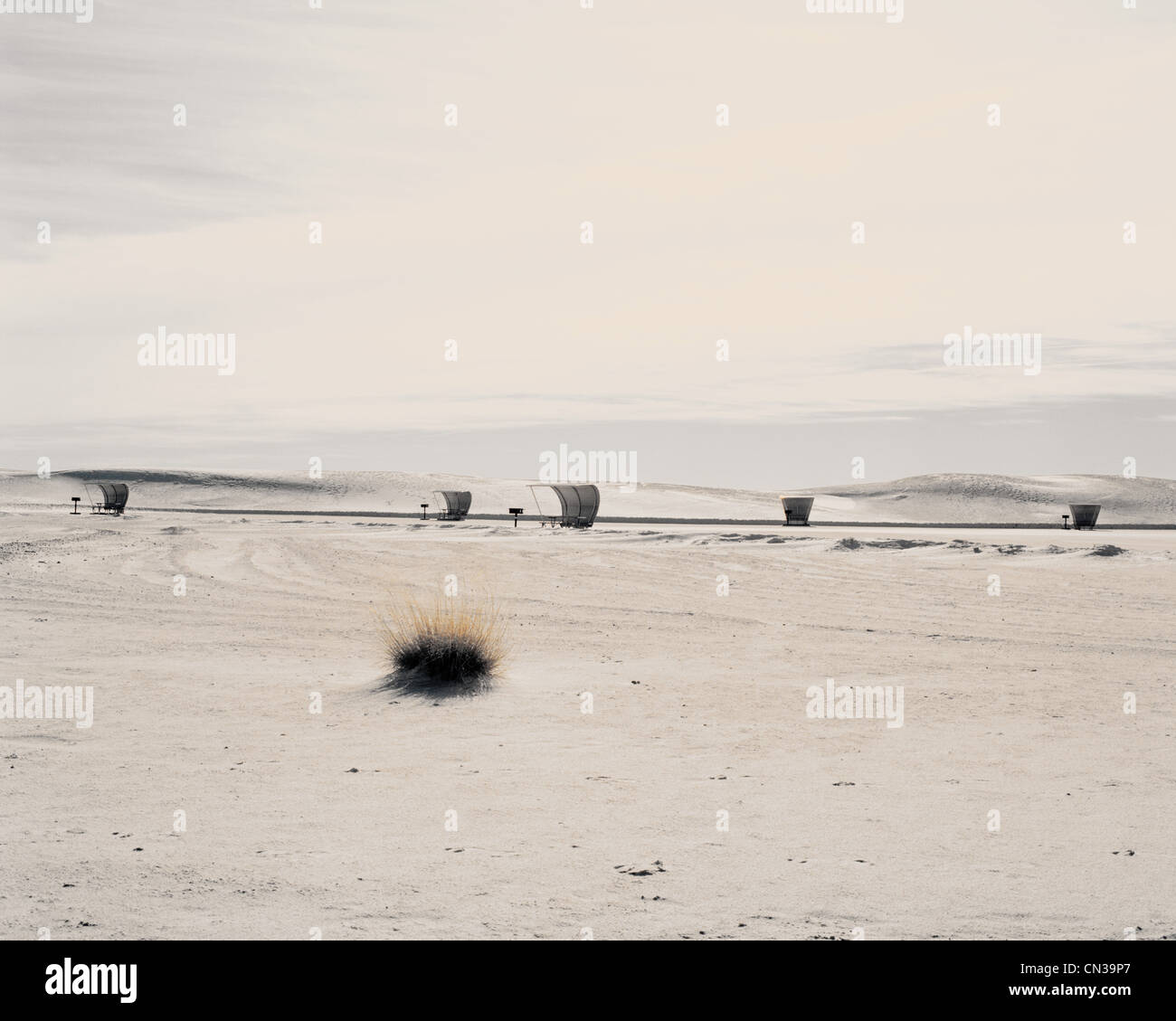 Shelters in White Sands National Park, New Mexico, USA - Stock Image