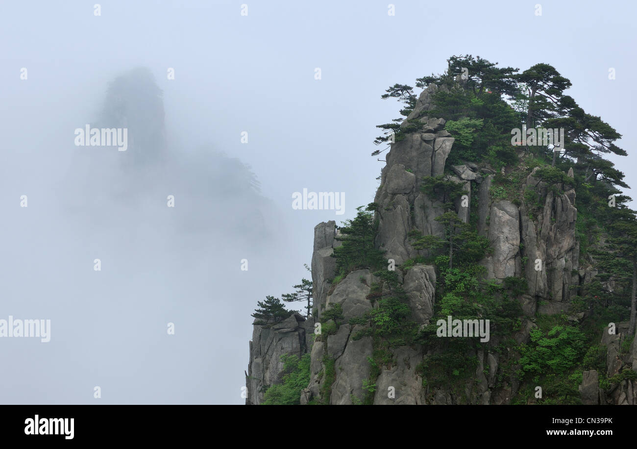 View from Beginning to Believe Lookout, Huangshan Mountains, Anhui Province, China - Stock Image