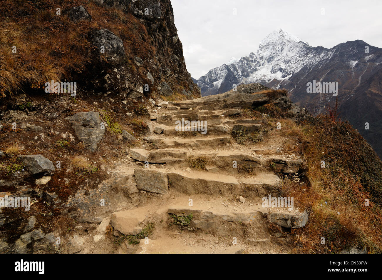 Steps in the Himalayas on way from Namche Bazaar to Khumjung, Nepal - Stock Image