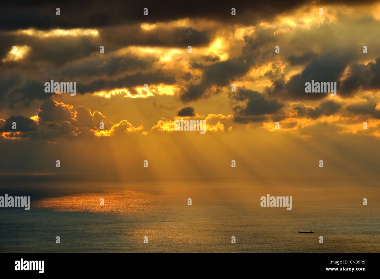 Dry cargo ship on Black Sea, Crimea, Ukraine - Stock Image