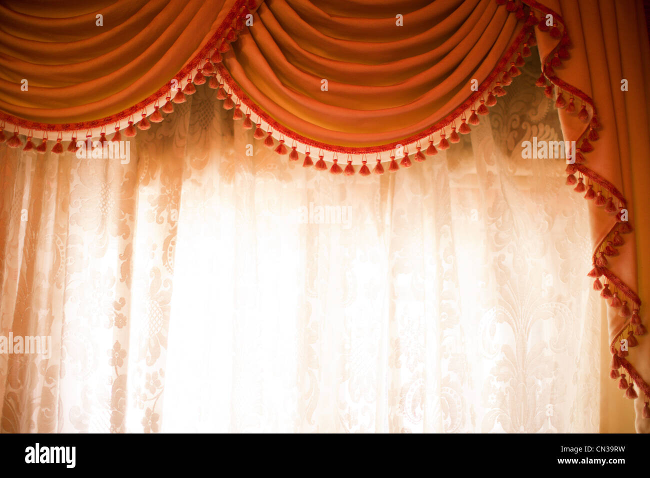 Window and curtains - Stock Image