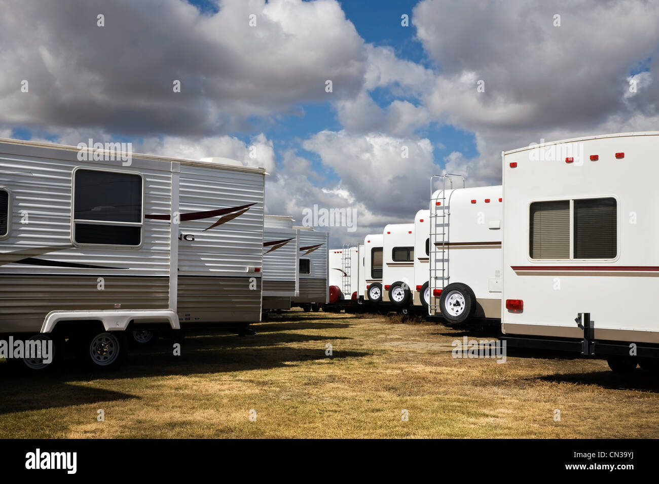 Trailers for sale - Stock Image