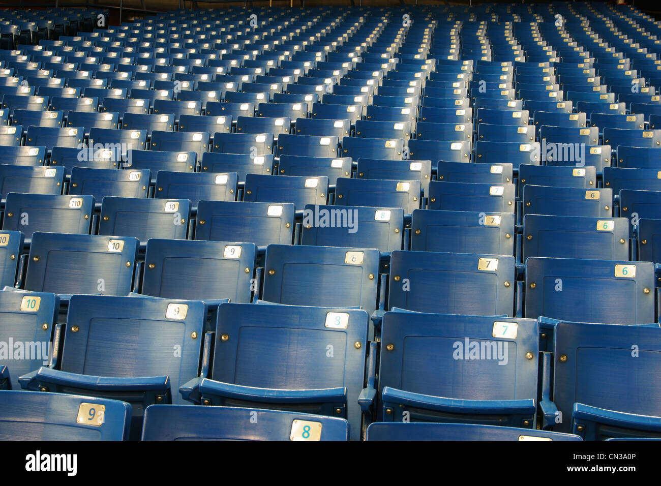 Empty blue stadium seats Stock Photo