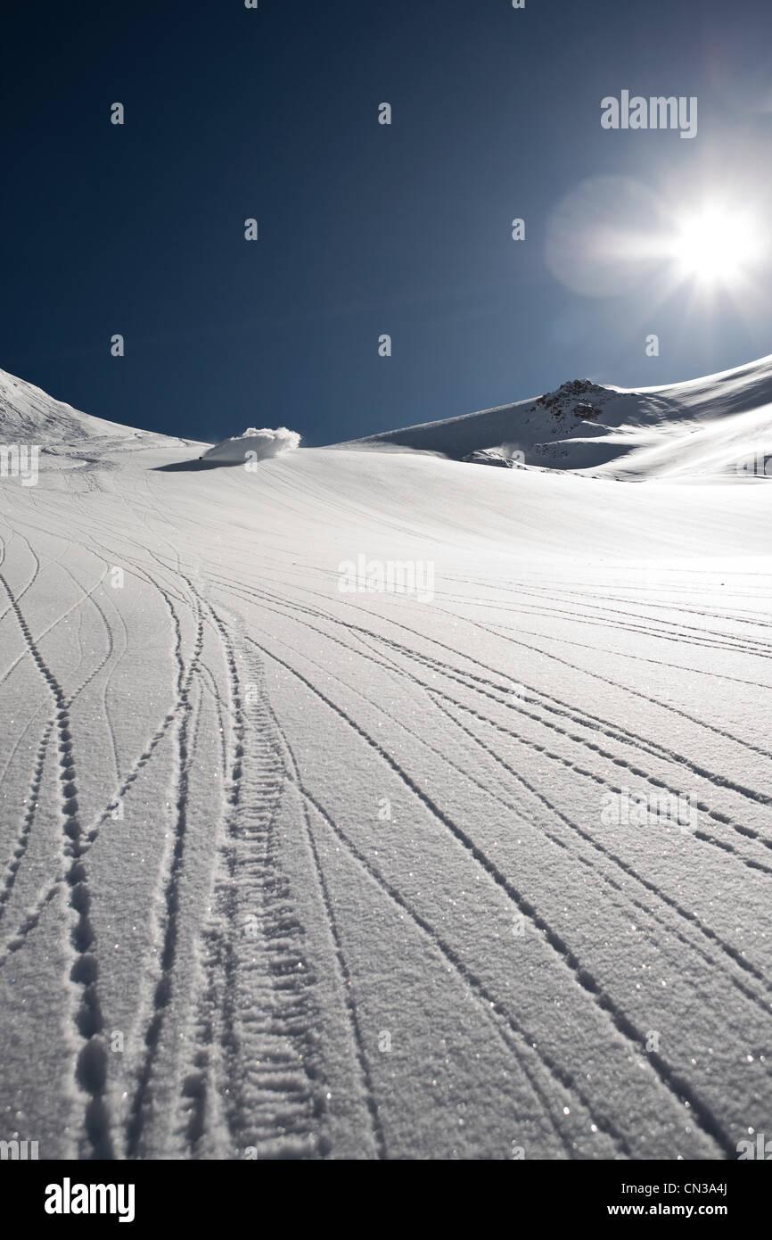 Tracks in white snow - Stock Image