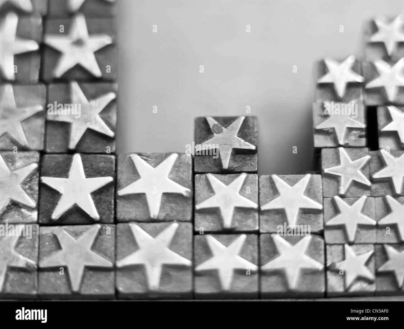 Star shaped rubber stamps - Stock Image