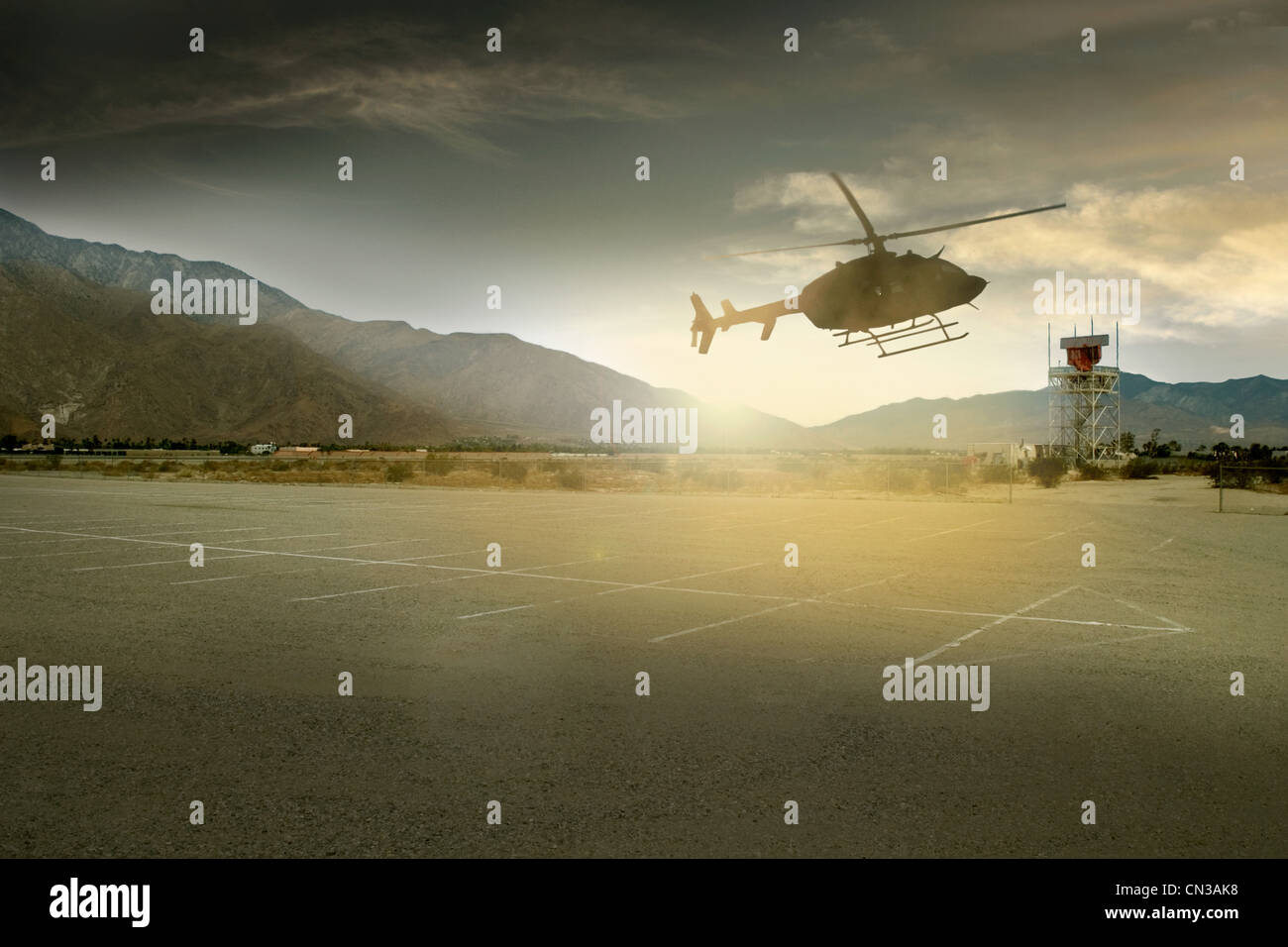 Helicopter landing in Palm Springs, California, USA - Stock Image