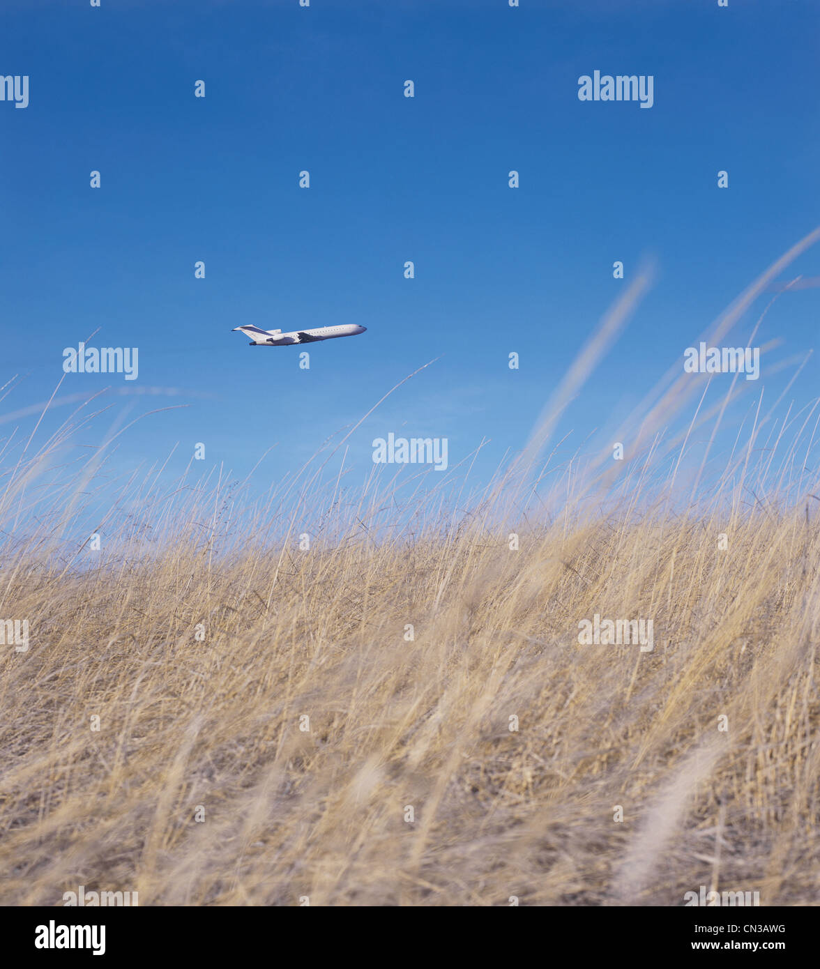 Airplane flying over grassy field - Stock Image