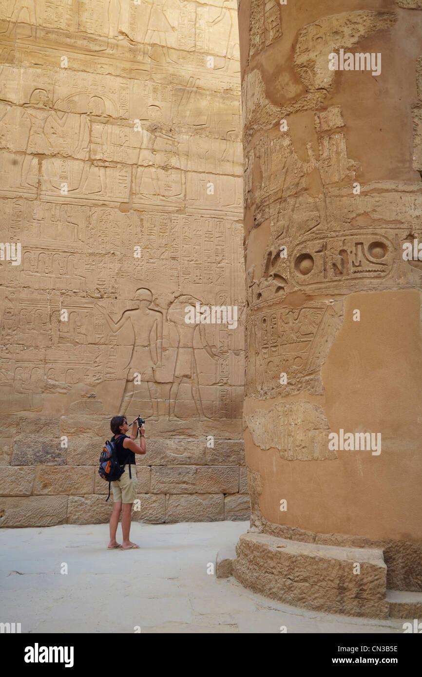 Hypostyle Hall in Karnak Temple, Luxor, Egypt - Stock Image