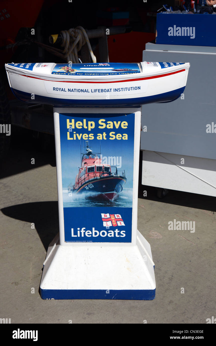 RNLI charity collection point - Stock Image