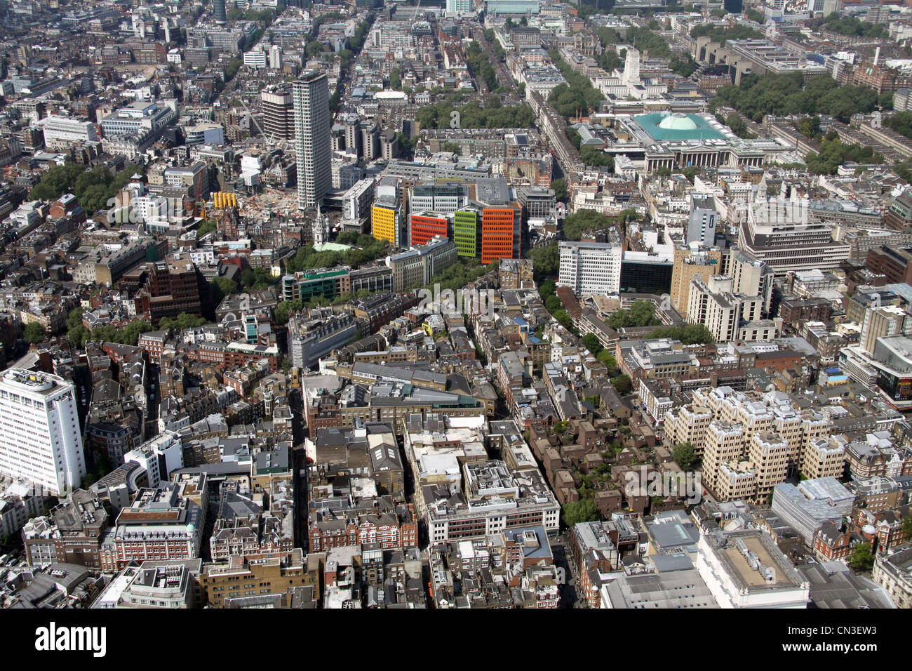 Aerial view of Shaftesbury Avenue, Mercer Street, Endell Street, London WC1 - Stock Image