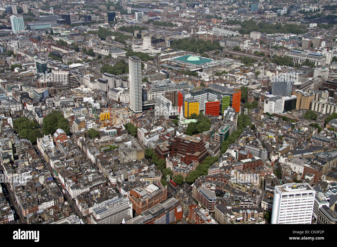 Aerial view looking up Shaftesbury Avenue towards the British Museum - Stock Image