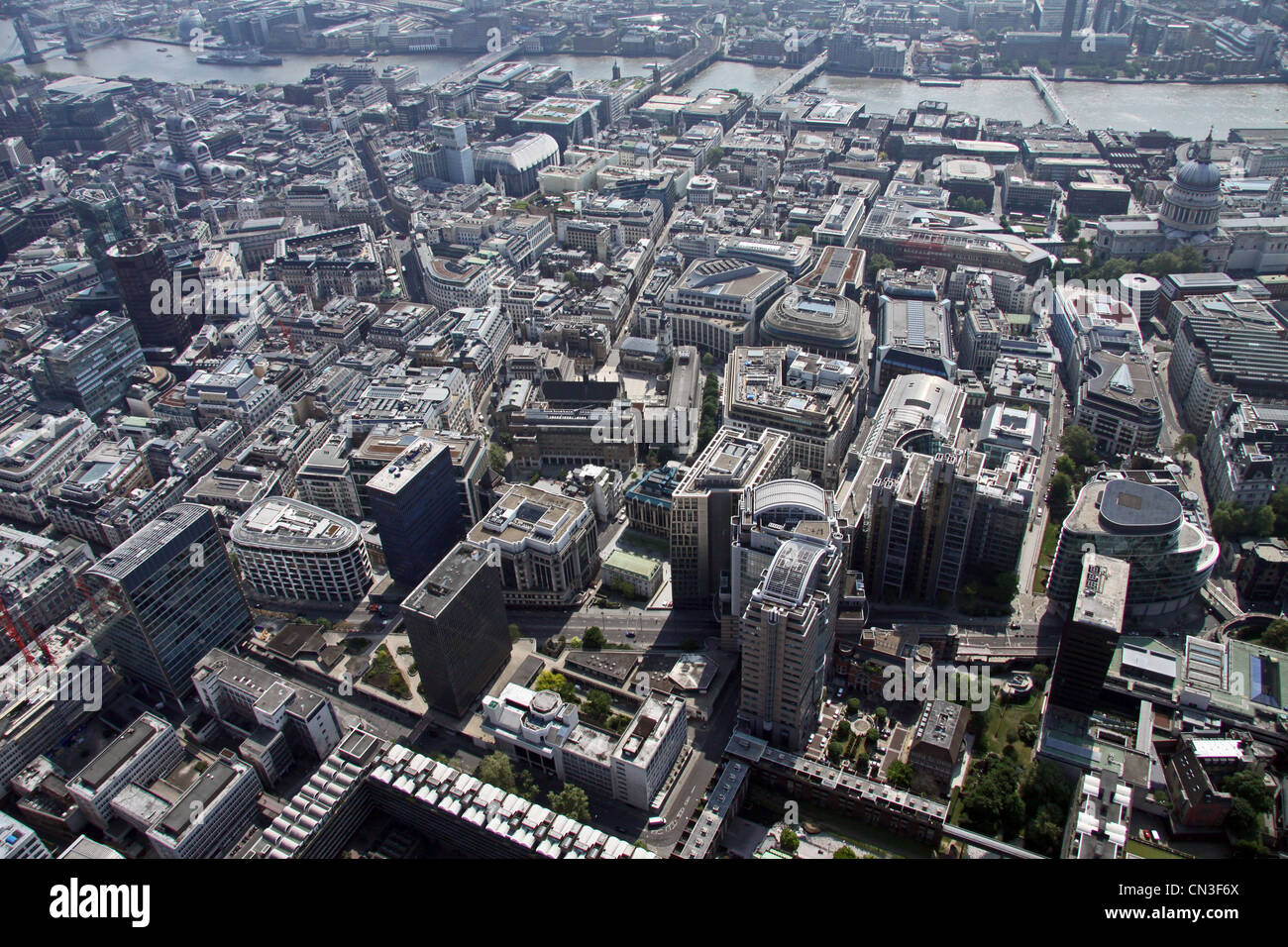 Aerial view from London Wall road A1211 looking south towards the Thames, London - Stock Image