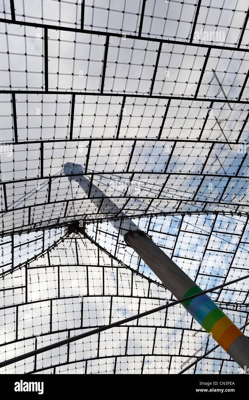 Roof of the olympic stadion Munich - Munich, Bavaria, Germany, Europe - Stock Image