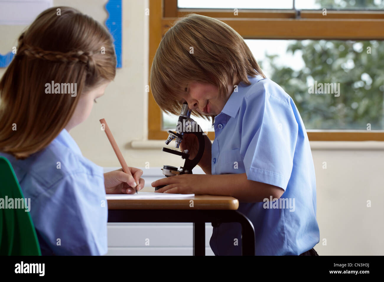 School children working on an assignment in classroom - Stock Image