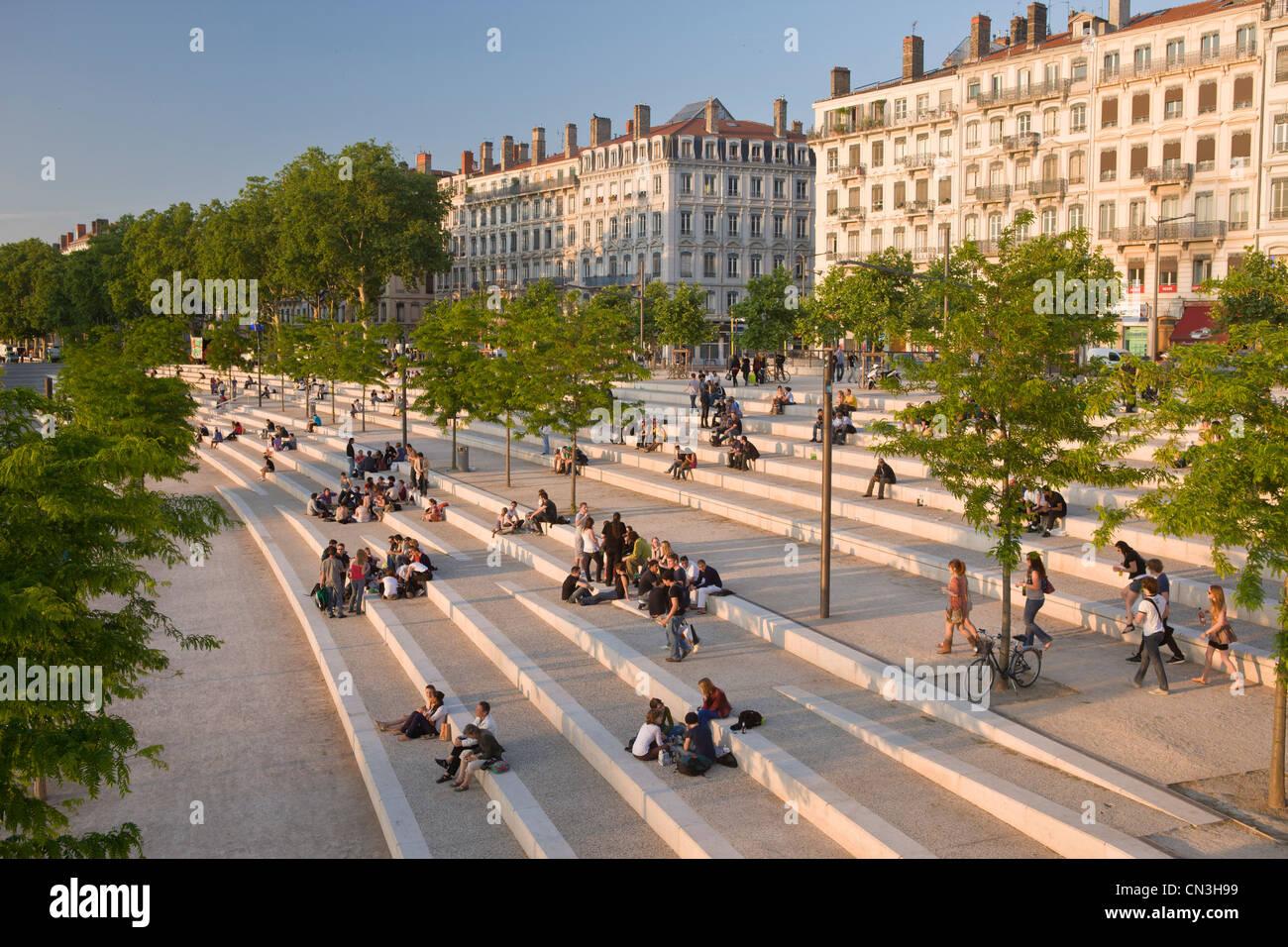 France, Rhone, Lyon, Rhone River banks - Stock Image