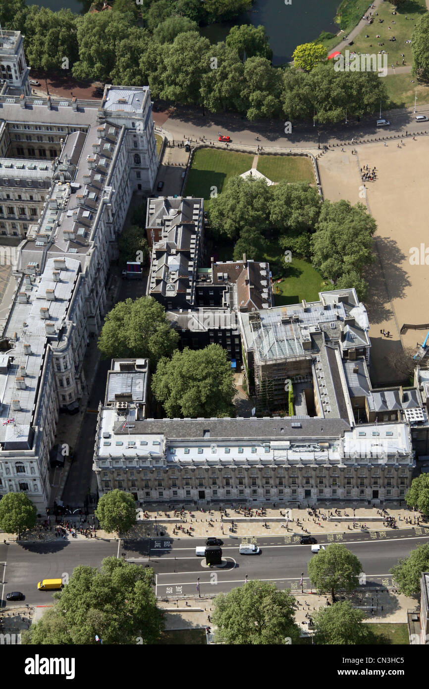 Aerial view of Downing Street, The Cabinet Office and Treasury Building, Whitehall, London  SW1 - Stock Image