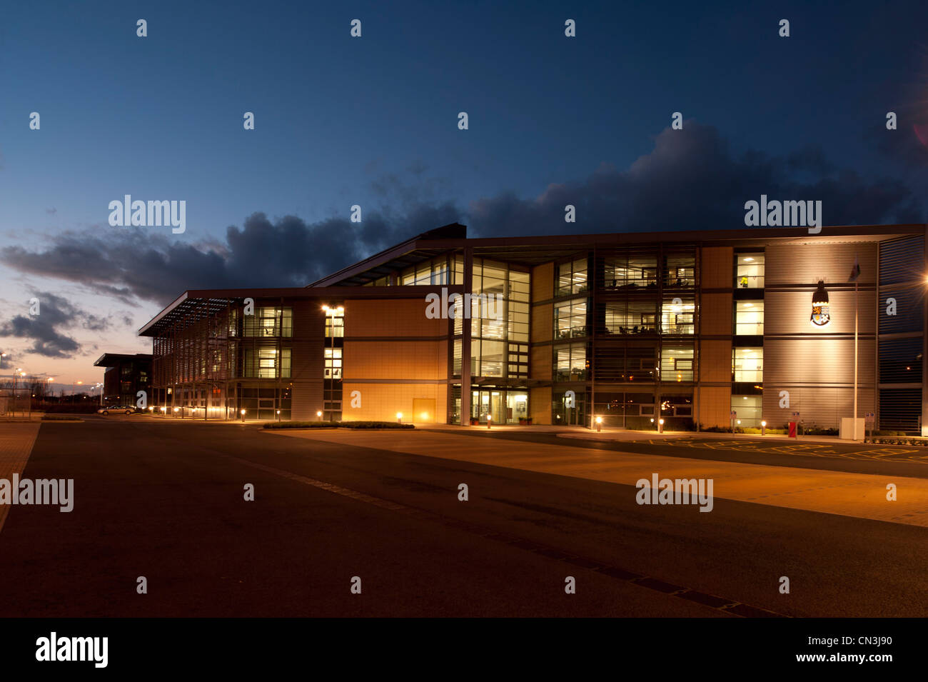 Ceredigion County Council local government offices, exterior, night, Aberystwyth Wales UK - Stock Image